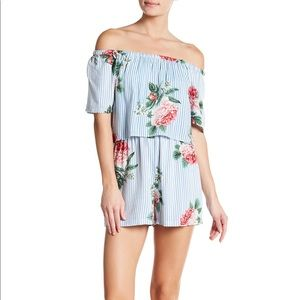 NWT Angie Off-the-Shoulder Striped Floral Romper
